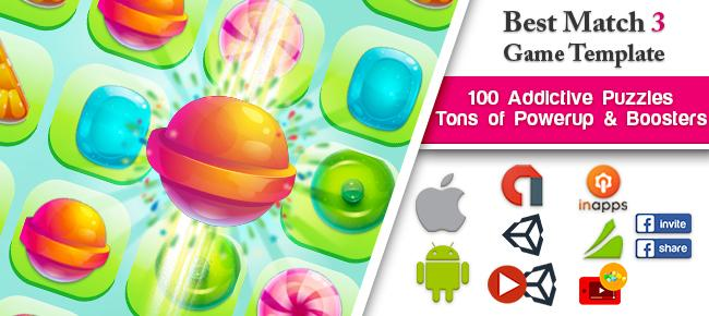 Candy Match 3 Unity Game Template Source Code - Reskin